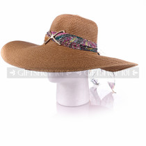 Women Summer Beach Visor Brown Bucket Hat (Side)