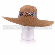 Women Summer Beach Visor Brown Bucket Hat (Front)