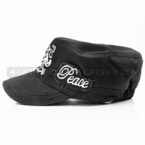 "Flat Adjustable Summer ""Peace"" Sun Cap- Black (Left)"