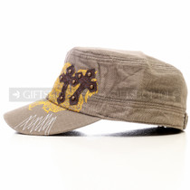 Swords and Cross Flat Brown Summer Hat (Left)