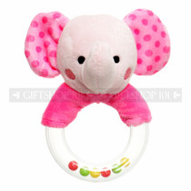 "5"" Pink Plush Elephant Baby Rattle Ring"