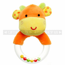 "5"" Orange Plush Giraffe Baby Rattle Ring"