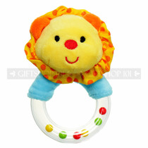 "5"" Yellow Plush Lion Baby Rattle Ring"