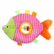"9"" Pink Fish Baby Rattle Plush"