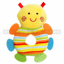 "7"" Colorful Bug Baby Rattle Ring With Infant Teethers"