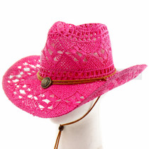Pink Stitched Mesh Cowboy Summer Hat (Detail)