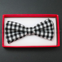 Kid's Bow Tie - Black and White Plaid