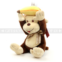 "10"" Soft Stuffed Monkey Chimp Raising Banana To You Plush Toy"
