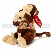 "12.5"" Monkey Soft Plush Animal - Orange Shirt With Speak No Evil"