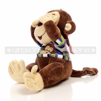 "12.5"" Monkey Soft Plush Animal - Blue Shirt With See No Evil"
