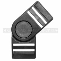 Side Release Buckles Swivel w/ Dual Adjust - Plastic - 1 inch - Black
