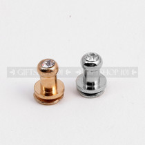 Screw Button Stud w/ Rhinestone - Metal - 7 mm