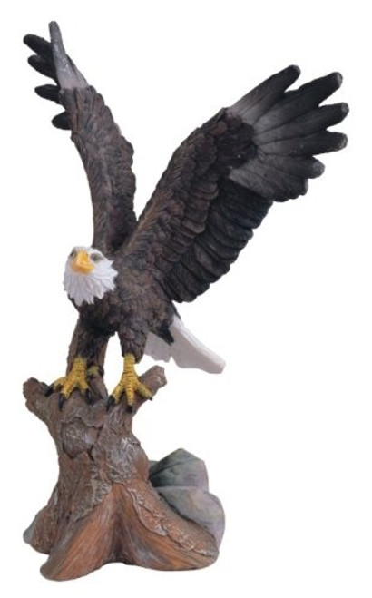6.75 inch Small Brown And White Bald Eagle Soaring From Tree Figurine