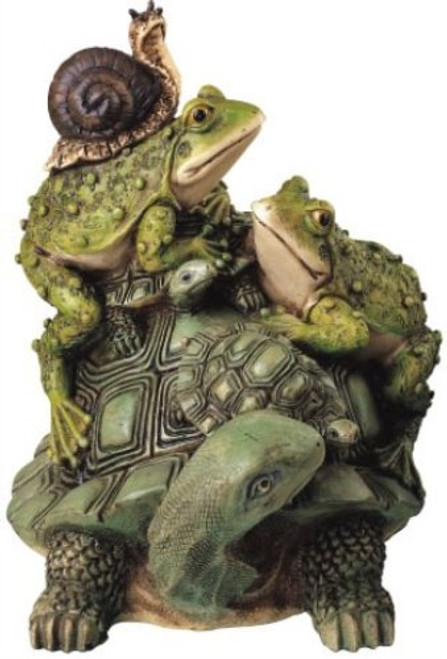 Frog on Turtle w/ Snail Collectible Garden Decoration Figurine Statue