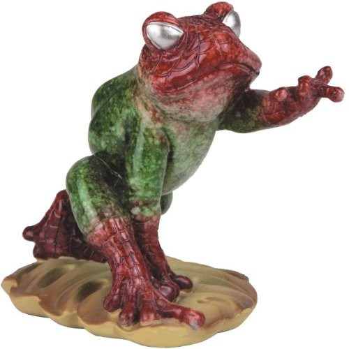 3.25 Inch Green and Red Super Frog Posing on Lilly Pad Figurine