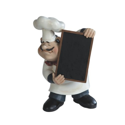 Large Fat Bistro Chef With Cooking Menu Chalkboard Poly Resin Figurin...
