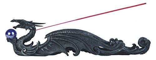 12.5 Inch Dark Dragon Holding Orb Incense Burner