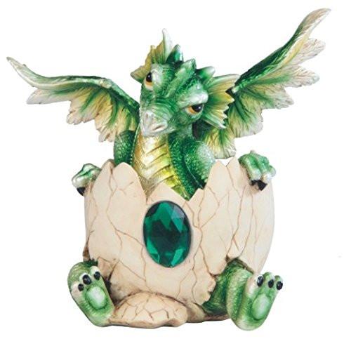 5 Inch Dark Green Baby Dragon Eggshell with Gem Figurine
