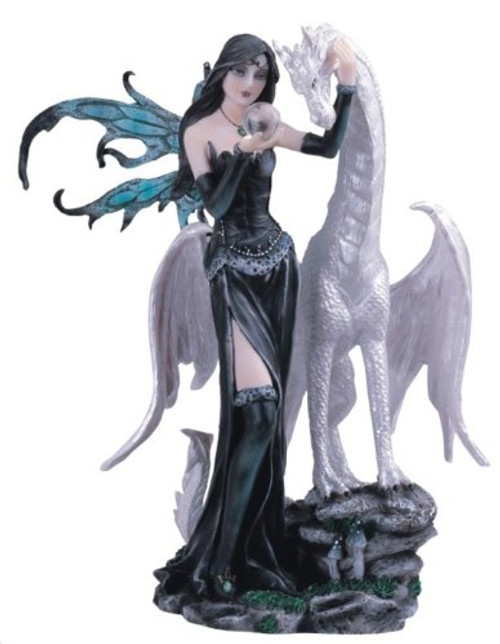 Black Fairy With White Dragon Collectible Figurine Decoration Statue