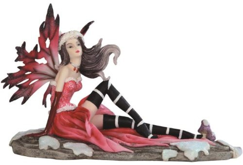 """10.75"""" Red Winter Fairy Lounging Statue Statue"""