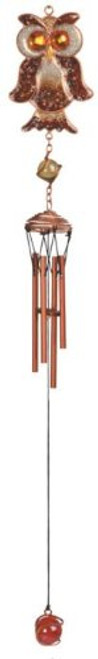 22.5 Inch Perched Brown Owl Copper Gem Wildlife Wind Chime