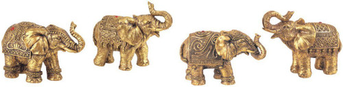 Set of 4 Thai Elephant Collectible Statue Figurine Decoration Decor