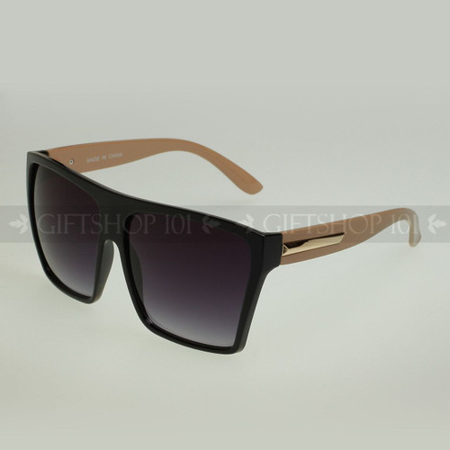 Square Shape Large Fashion Sunglasses 80331 Brown