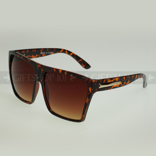 Square Shape Large Fashion Sunglasses 80331 Tortoise