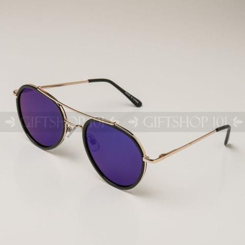 Aviator Shape Mirror Lens Color Fashion Sunglasses 59003MH Black Frame Blue Lens