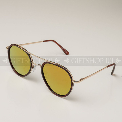 Aviator Shape Mirror Lens Color Fashion Sunglasses 59003MH Brown Frame Orange Lens