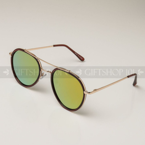 Aviator Shape Mirror Lens Color Fashion Sunglasses 59003MH Brown Frame Yellow Lens