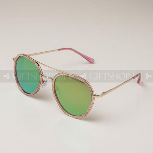 Aviator Shape Mirror Lens Color Fashion Sunglasses 59003MH Pink Frame Yellow Lens
