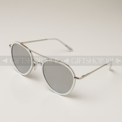 Aviator Shape Mirror Lens Color Fashion Sunglasses 59003MH White Frame Silver Lens