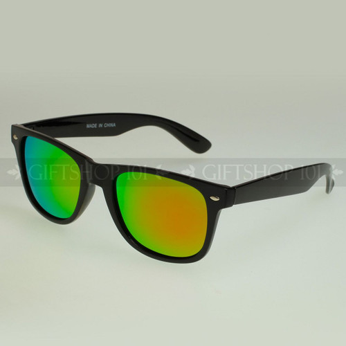 Retro Square Shape Mirror Lens Polarized Sunglasses 61PRV Pink Lens