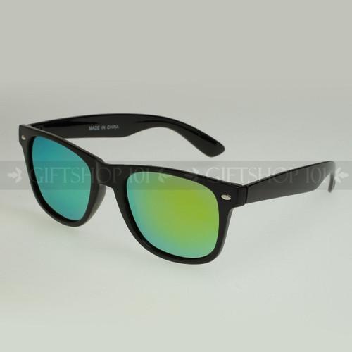 Retro Square Shape Mirror Lens Polarized Sunglasses 61PRV Lime Lens