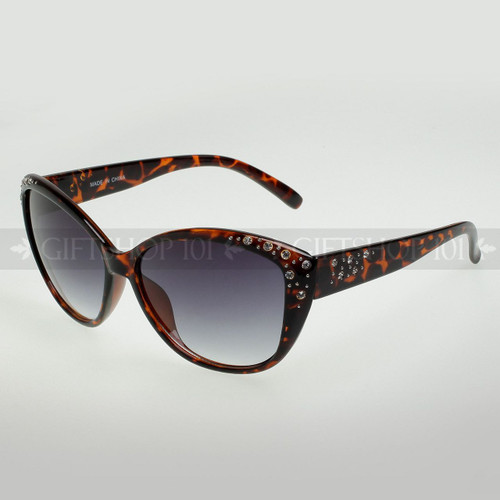 Butterfly Shape Rhinestones Fashion Sunglasses 80351RS Tortoise