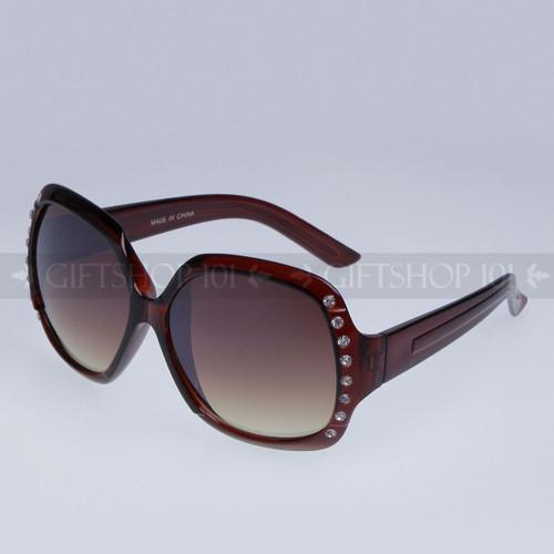 Square Shape Rhinestones Fashion Sunglasses 80550RS Brown