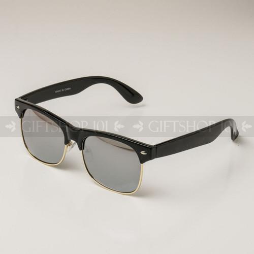 Clubmaster Shape Mirror Lens Sunglasses 89013SM Black Gold