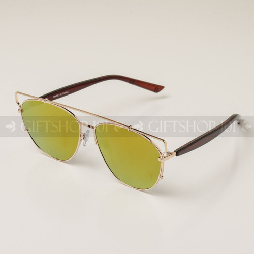 Rimless Shape Metal Bar Top Fashion Sunglasses 95002RV Gold Frame Yellow Lens