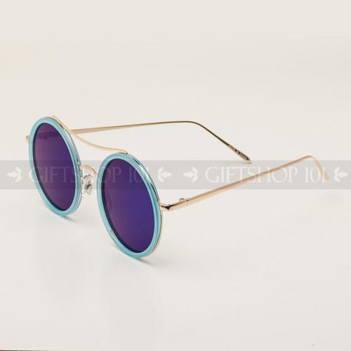Round Shape Color Fashion Metal Sunglasses 95004RV Blue Frame Blue Lens