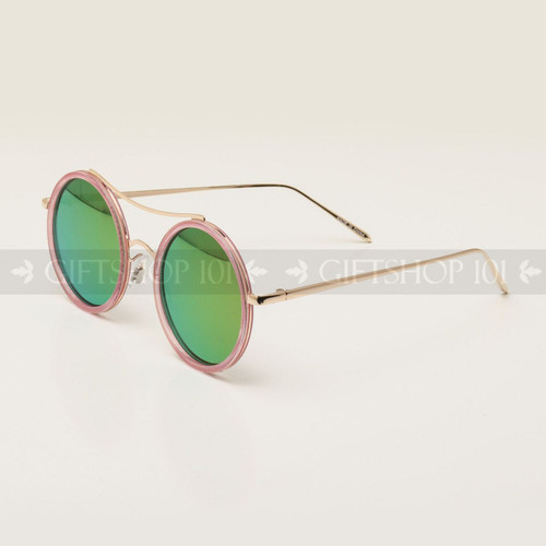 Round Shape Color Fashion Metal Sunglasses 95004RV Pink Frame Pink Lens