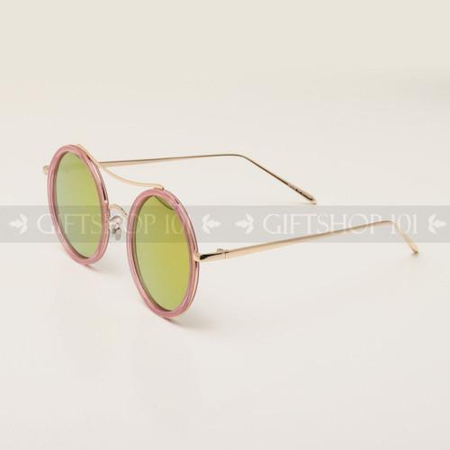 Round Shape Color Fashion Metal Sunglasses 95004RV Pink Frame Yellow Lens