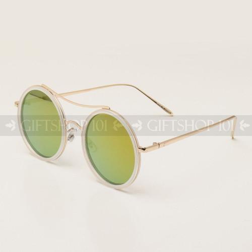 Round Shape Color Fashion Metal Sunglasses 95004RV White Frame Yellow Lens