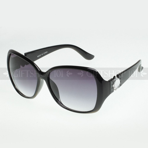 Square Shape Diamond Arm Fashion Sunglasses D9518 Black