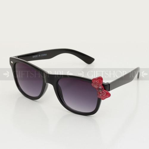 Retro Square Shape Cute Bow Kids Sunglasses K61BW Black Frame Red Bow