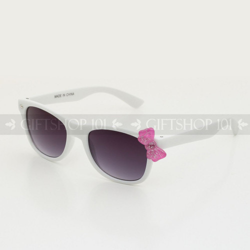 Retro Square Shape Cute Bow Kids Sunglasses K61BW White Frame Pink Bow