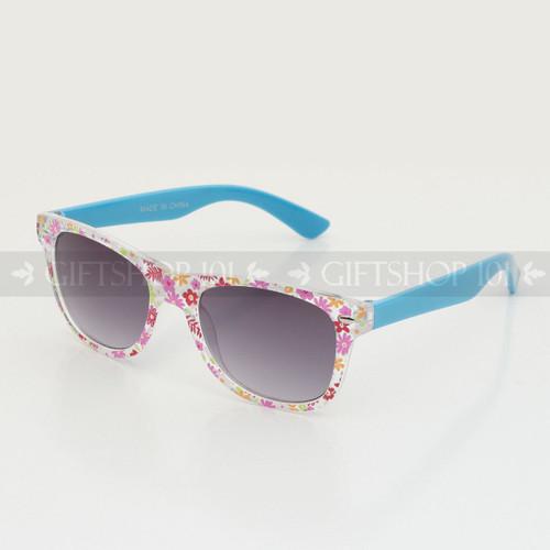 Retro Square Shape Flower Frame Kids Sunglasses K61FL Blue