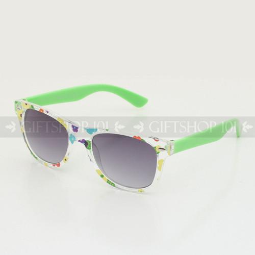Retro Square Shape Flower Frame Kids Sunglasses K61FL Green