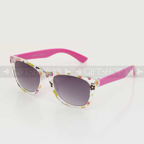 Retro Square Shape Flower Frame Kids Sunglasses K61FL Pink