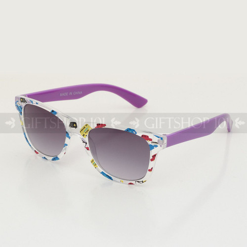 Retro Square Shape Flower Frame Kids Sunglasses K61FL Purple